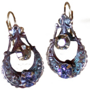 Olive Patina Brass Victorian Motif Earrings - Lavender, Light Gold. Crystals