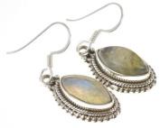 925 Sterling Silver NATURAL LABRADORITE Earrings, 3.5cm , 6.33g