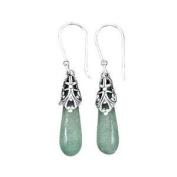 Ancient Roman Glass Aqua Blue Earrings Antiqued Sterling Silver