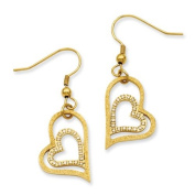 Stainless Steel Gold IP-plated Laser-cut Heart w/CZs Dangle Earrings