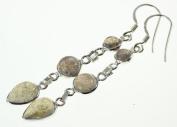 925 Sterling Silver NATURAL LABRADORITE Earrings, 5.7cm , 3.78g