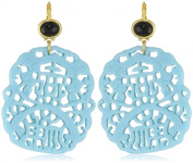 Kenneth Jay Lane Black and Turquoise Carved Drop Earrings