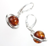 Cognac Amber and Sterling Silver Dangle Earrings
