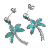 925 Silver Rhodium Opal Palm Tree Dangle Earrings Hawaiian Silver Jewellery