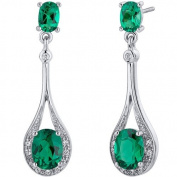 Glamorous 3.50 Carats Emerald Oval Cut Dangle Earrings in Sterling Silver Rhodium Finish