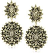 Yochi Black Diamond Chandelier Stone Burst Silver Plated Earrings