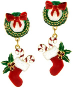 Lunch at The Ritz 2GO USA Christmas Wreath Earrings Clips