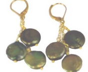 Olive Coin Pearl Earrings