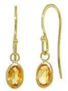 14k Solid Gold Citrine Fish Hook Earrings