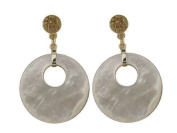 White Mother of Pearl Lucky Thick Tempo Earrings, 14k Gold