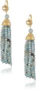 Kenneth Jay Lane Satin Gold and Jade Bead Tassel Earrings