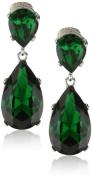 Kenneth Jay Lane Emerald-Colour Teardrop Silver Clip Earrings