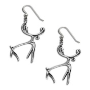 Sterling Silver Northwest Coast Native American Moose Earrings. Made in USA.