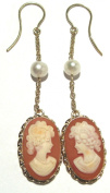 Earrings Dangle French Wire Shell Master Carved Sterling Silver 18k Gold Overlay Italian