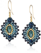 Miguel Ases Small Blue Gold Stone Lotus Earrings