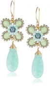 Miguel Ases Green and Prehnite Quartz Single Stone Drop Earrings