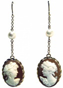 Cameo Earrings Conch Shell Sterling Silver 18k Gold Overlay Italian French Wire