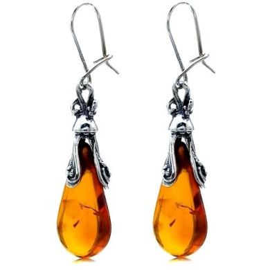 Premium Quality Amber Sterling Silver Antiqued Large Drop Earrings