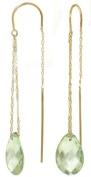 14k Solid Gold Green Amethyst Threaded Earrings