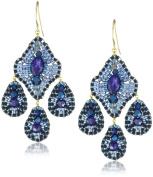 Miguel Ases Deep Blue 3-Drop Earrings