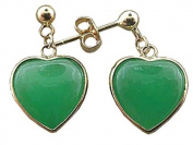 Green Jade Casual Hearts Dangling Earrings, 14k Gold