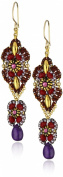 Miguel Ases Amethyst and Rubellite Quartz Swinging Station Earrings