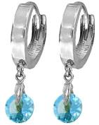 14k White Gold Huggie Earrings with dangling Blue Topaz