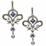 Fleur-de-lis Silver Sapphire Natural Seed Pearl Earrings - Dahlia Vintage Collection