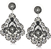 Miguel Ases Jet and Sterling Silver Medium Embroidered Earrings