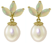 14K Solid Gold Cultured Pearl and Opal Stud Dangle Earrings