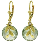 14k Solid Gold Leverback Earrings with Green Amethyst and bezel set Diamonds