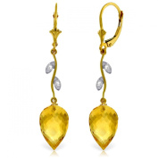 14K Yellow Gold Drop Style Earrings with Citrines and Diamond Accents