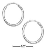 STERLING SILVER 14MM ENDLESS WIRE HOOP EARRINGS