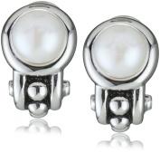 """Honora """"Pallini"""" White Freshwater Cultured Pearl Semi Hoop Omega Back Earrings"""