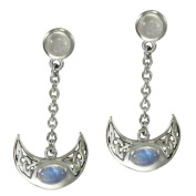 Sterling Silver Celtic Knot Crescent Moon Goddess Earrings with Rainbow Moonstones