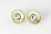 Classy, Dainty Winchester .357 Mag Brass Bullet Head Stud Earrings with. Crystals