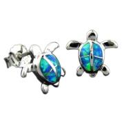 925 Silver Rhodium Opal Turtle Stud Earrings Hawaiian Silver Jewellery