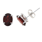 14K White Gold Genuine Natural Garnet Oval Shaped 6 x 8 mm. Solitaire Stud Earrings