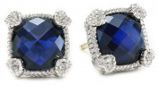 "Judith Ripka ""Linen"" Blue Sapphire Small Cushion Stone Stud Earrings"