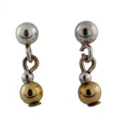 Sterling Silver Stud Earring with Dangling Gold Plated Bead