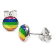 Pair Stainless Steel Gay Pride Rainbow Post Stud Earrings 7mm