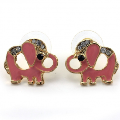 Light Peach Pink Baby Elephant Animal Stud Post Earrings Gold Tone Clear Stones Fashion Jewellery
