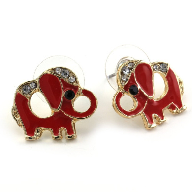 Red Baby Elephant Animal Stud Post Earrings Gold Tone Clear Stones Fashion Jewellery