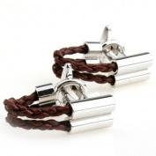 Brown Braid Leather Wrap Around Cufflinks