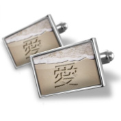 "Neonblond Cufflinks ""Love"" in Japanese language written on beach - cuff links for man"