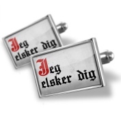 "Neonblond Cufflinks ""I Love You"" Denmark Classic Print from Danish - cuff links for man"