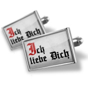 "Neonblond Cufflinks ""I Love You"" German Classic Print from Germany - cuff links for man"