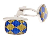 Vibrant cufflinks with blue and yellow enamel Harlequin design with presentation box