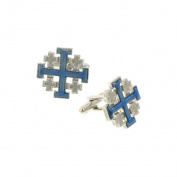 The Vatican Library Collection Silver Tone Jerusalem Cross Blue Enamel Cufflinks Cuff Links