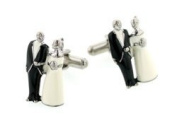 JJ Weston Bride and Groom wedding or matrimonial cufflinks with presentation box. Made in the U.S.A
